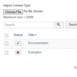 Import and export options in the content type manager